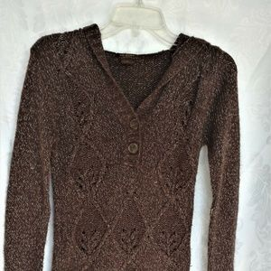 Brown Silver Hooded Sweater Jr Size Large